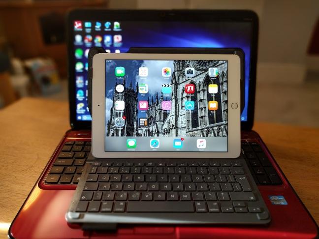 iPad on laptop