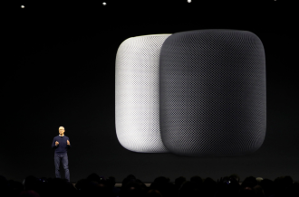 Tim Cook with Home Pod background